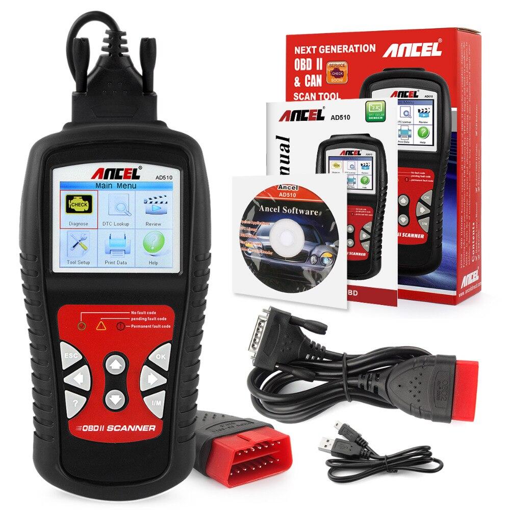 Цена за OBD2 автомобиля диагностический инструмент автомобильной сканера в русский ансель AD510 диагностический сканер для автомобиля OBD OBD2 код читателя Авто сканер