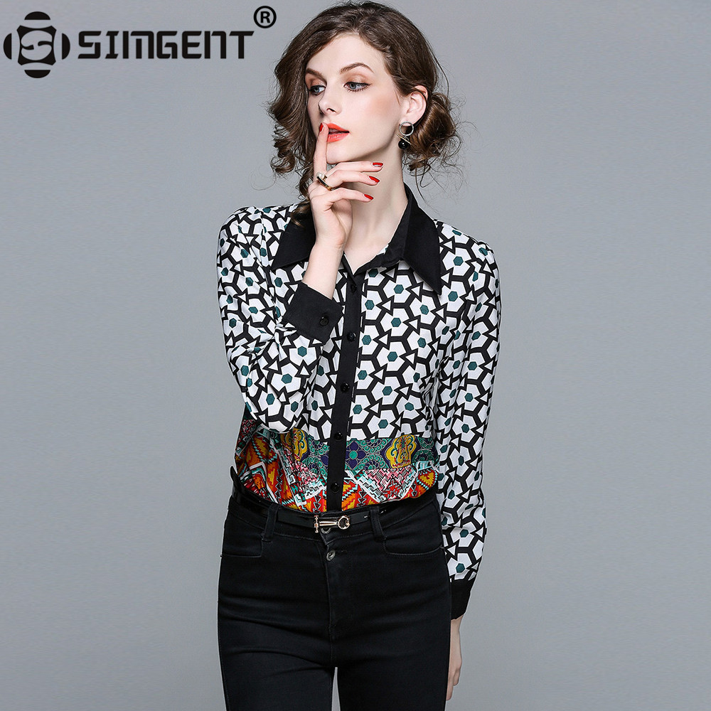 Simgent 2018 New Fashion Long Sleeve Print Spring Office Lady Work Casual Shirts Vintage Blouse For Women Female Clothing SG8342