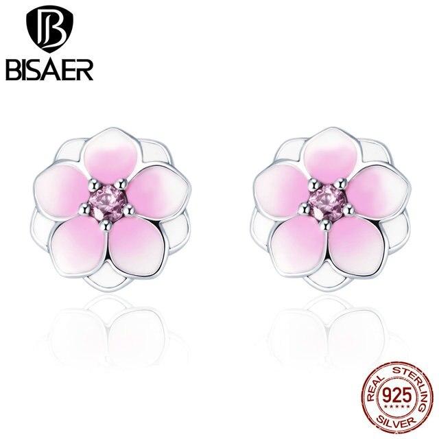 37b54e391 925 Sterling Silver Magnolia Bloom, Pale Cerise Enamel & Pink CZ Flower  Stud Earrings Women Fashion Wedding Jewelry WEUS503