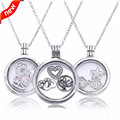 Medium Floating Locket Necklace and Pendant with Three Petite Charms 925 Sterling Silver Pendants for Women Fandola Jewelry 027A