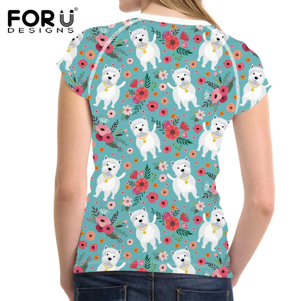 FORUDESIGNS śmieszne Wstie pies drukowanie T Shirt kobiety Cartoon pies wzór T-shirt nastolatków Kawaii Tee koszula, żeński, moda ubrania