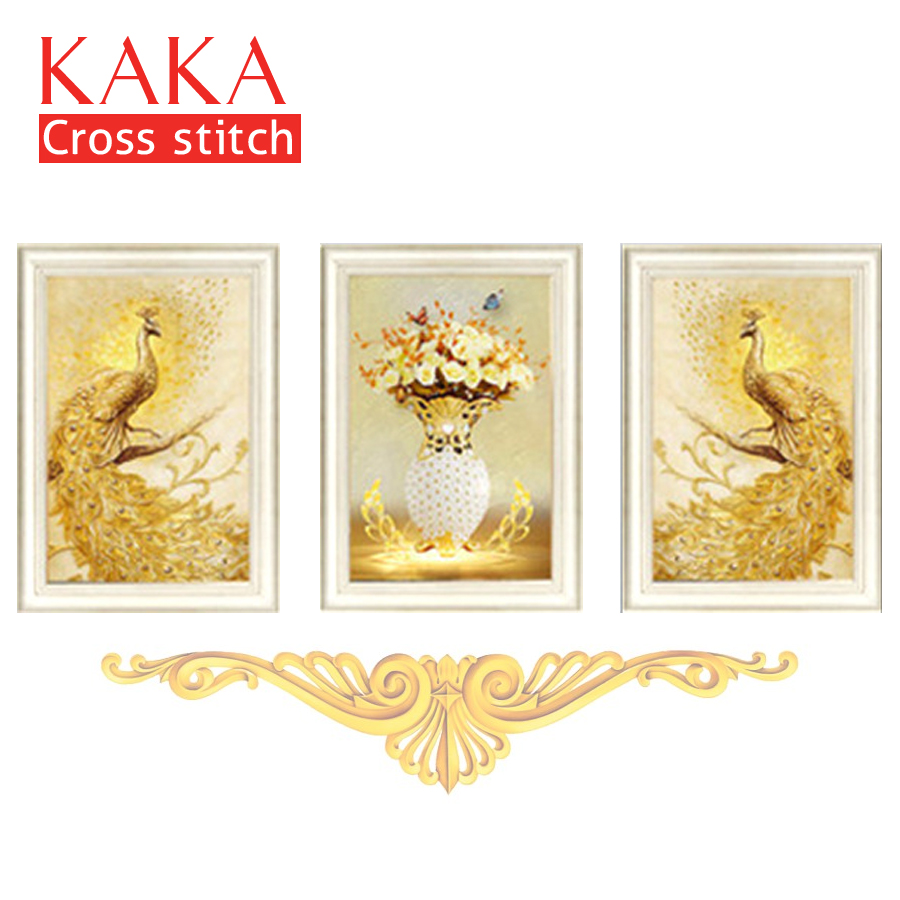 KAKA Cross Stitch Kits,5D Triplets Gold Peacock,Embroidery Needlework Sets With Printed Pattern,11CT Canvas,Home Decor Painting