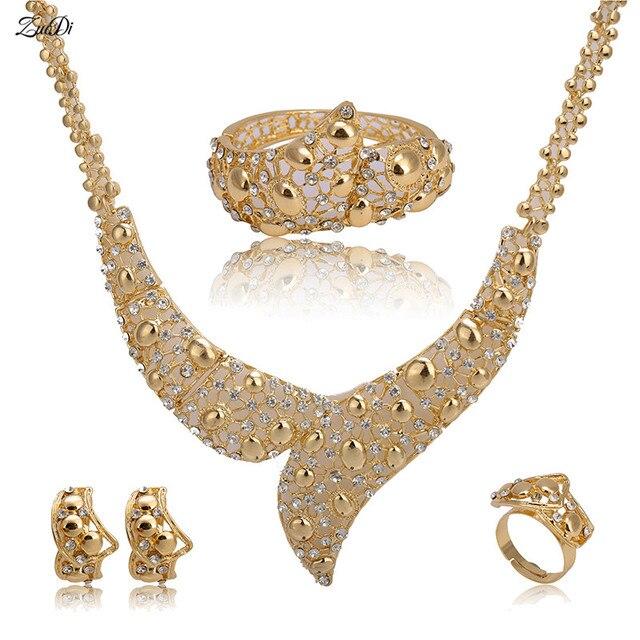 Zuodi 2018 Nigerian Wedding Bridal Brand Jewelry Set Dubai Gold