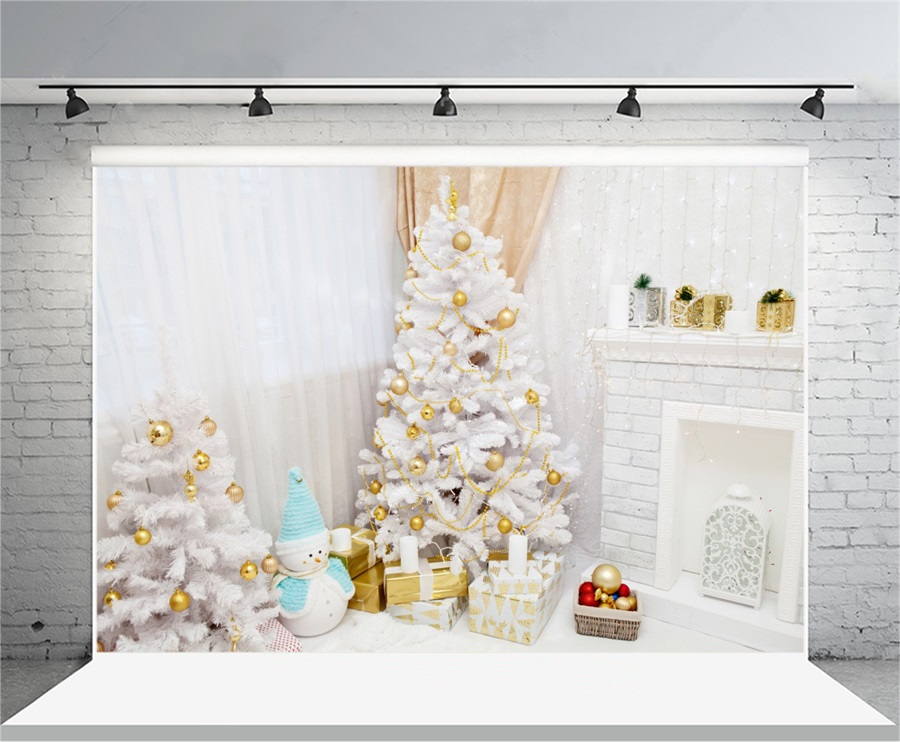Laeacco Christmas Tree Fireplace Curtain Light Decor Wall Photography Backgrounds Vinyl Custom Camera Backdrops For Photo Studio decorations tree fireplace light room scene photo backdrop high quality vinyl cloth computer printed christmas backgrounds