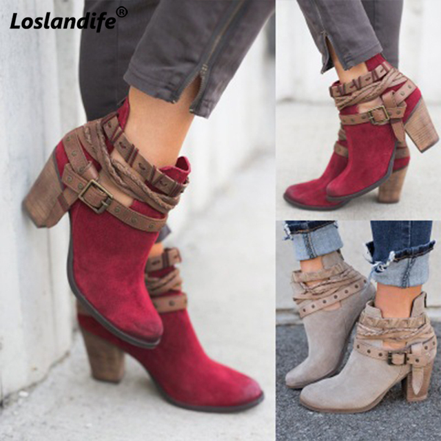Booties woman 2018 Fashion Women Boots Spring Autumn High Heels Shoes for Female Rivet Buckle Daily Shoes PU Leather Ankle Boots