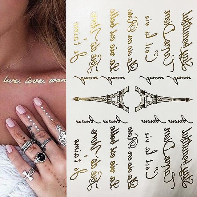 Us 095 Złoty I Srebrny Tatuaż List Wieża Eiffla Tekst Art Wodoodporna Tymczasowy Tatuaż Błyszczące Złoty Tekst Wzór Ciała Naklejki Z Tatuażami W