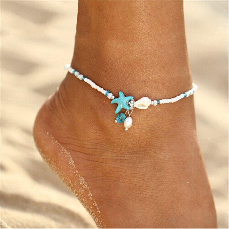 Romad Bohemen Shell Enkelbandje Kralen Zeester Enkelbanden Vrouwen Mode Sandaal Armband Voet Ketting Boho Sieraden Decoraties Voor Vrouwen Z4