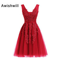 Cheap Sale V neck Sleeveless Beaded Lace Tulle Short Evening Dress for Wedding Party Pageant Dresses Red / Black / Pink / Silver