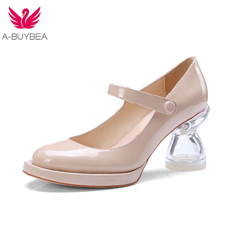 Rose vrai cuir femmes pompes Transparent talons bouton pression bout rond femmes chaussures à talons hauts femmes printemps dames chaussures de fête