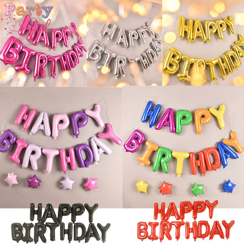 Happy Birthday balloon air Letters Alphabe foil balloons decoration kids toy wedding party birthday helium globos party baloon line art