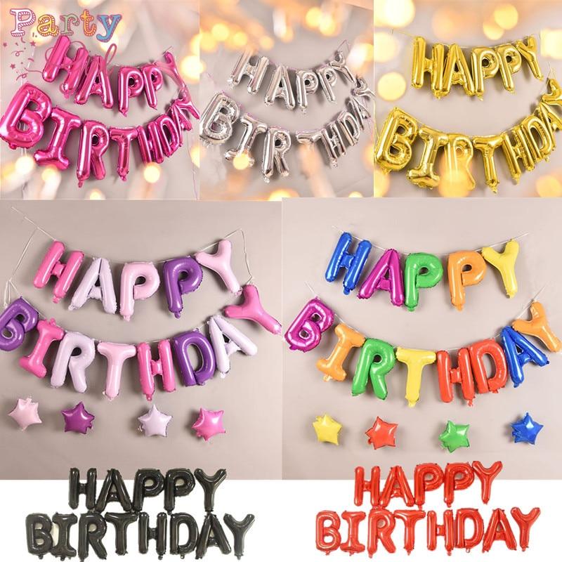 Joyeux anniversaire ballon air lettres Alphabe feuille de noël ballons enfants jouet fête de mariage anniversaire hélium globos fête baloon
