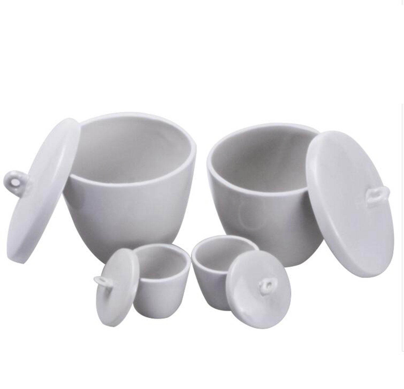 Capacity 10ml 20ml 30ml 50ml 70ml 100ml 150ml 200ml 300ml Ceramic Porcelain Crucible With Cover Lid 1200 Celsius Lab Laboratory