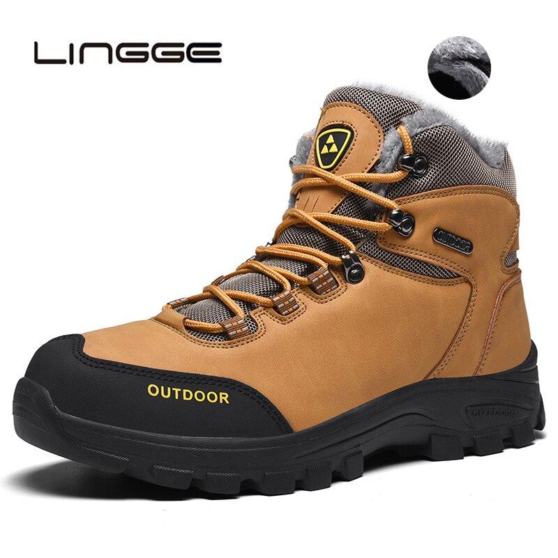 LINGGE Super Warm Men's Winter PU Leather Ankle Boots Men Autumn Waterproof Snow Boots Leisure Autumn Boots Mens Shoes 39-46
