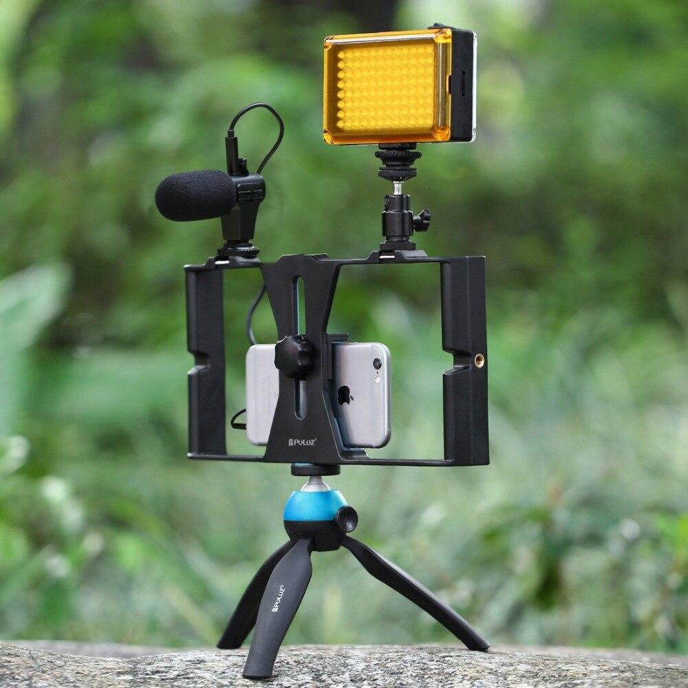 Video Rig Vlogging Record Handle Rig Case Filmmaking Stabilizer Grip+Microphone+Tripod For Samrtphone IPhone Samsung Huawei