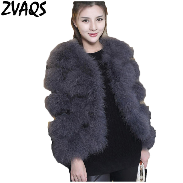 ec174fe4f2 ZVAQS Luxury Real Ostrich Fur Coat Autumn Winter Fashion Natural Turkey  Wool Outwear Long Sleeve Solid Woman Fur Jacket ST012