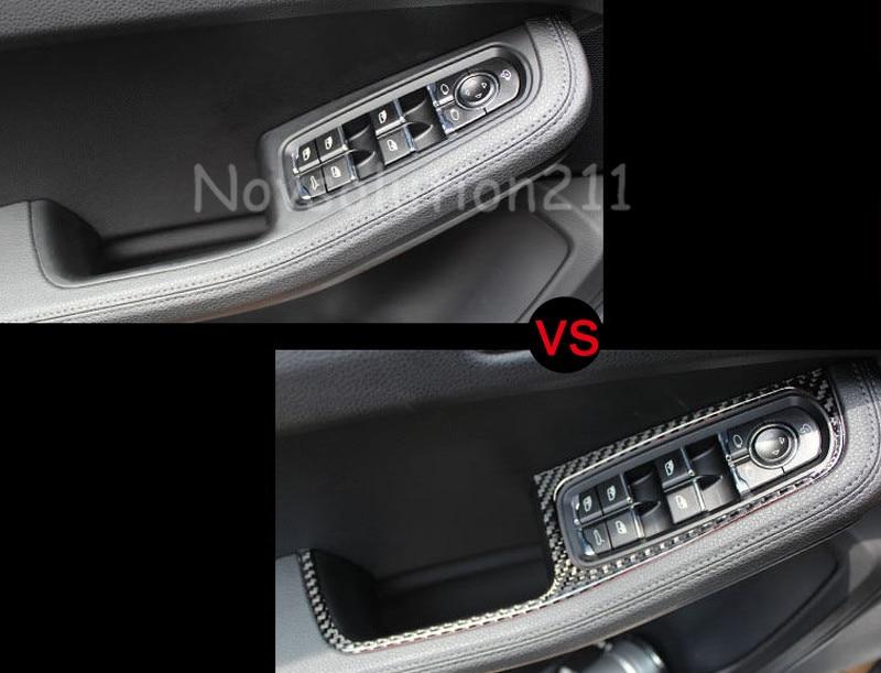 4pcs Carbon Fiber Interior Door Cover Armrest Trim For Porsche Macan 2014-2016 new for audi q3 8u 2012 2015 true carbon inner door armrest stripe lid trim 4pcs