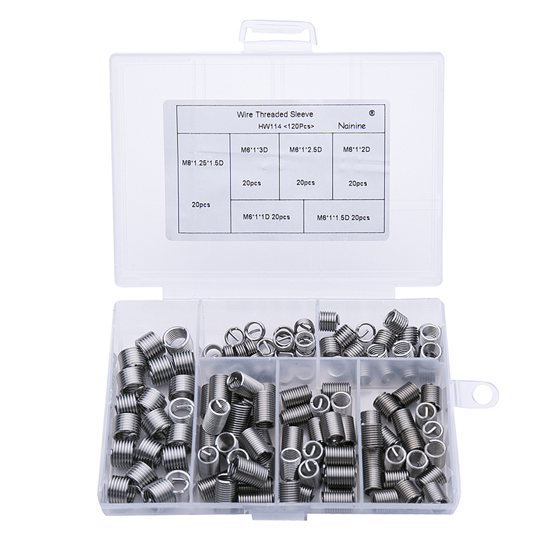 120Pcs/lot M6*1*1D-3D DIN8140 Wire Thread Insert M6 Screw Bushing Wire Screw Sleeve Thread Repair 304 Stainless Steel Kit HW114 m16 1 5 thread repair tool wire thread insert tool screw bushing tool install tool