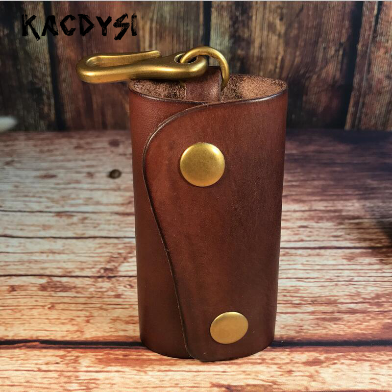 Original Retro Men Car Key Wallet Quality Vegetable Tanned Cow Leather Women Keys Holder Case Waist Bag Key Safe Hanger