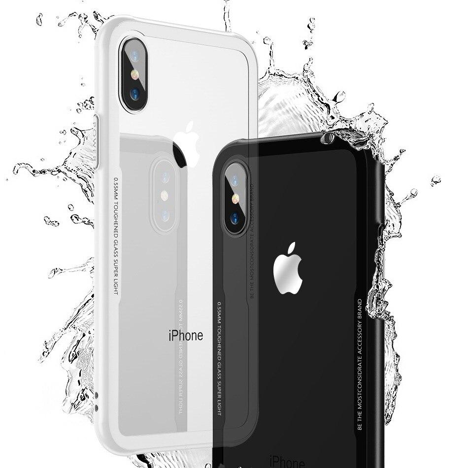FLOVEME Trempé Verre Téléphone Cas pour iPhone X 10, 0.7mm De Protection Mobile Couverture de Téléphone Cas pour iPhone 7 8 Plus 6 6 s XS Max XR