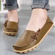 YIDAKU Ladies's Ballets Flats Level Toe Ladies Informal Flat Footwear Girl New Style Slip-on Leather-based Work Footwear Plus Measurement 34~43