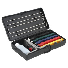 Knife Sharpener Deluxe 5 Whetstones Set Sharpening System Grindstone 5 Stones Extra Coarse Sharpener Kit Kitchen Tool