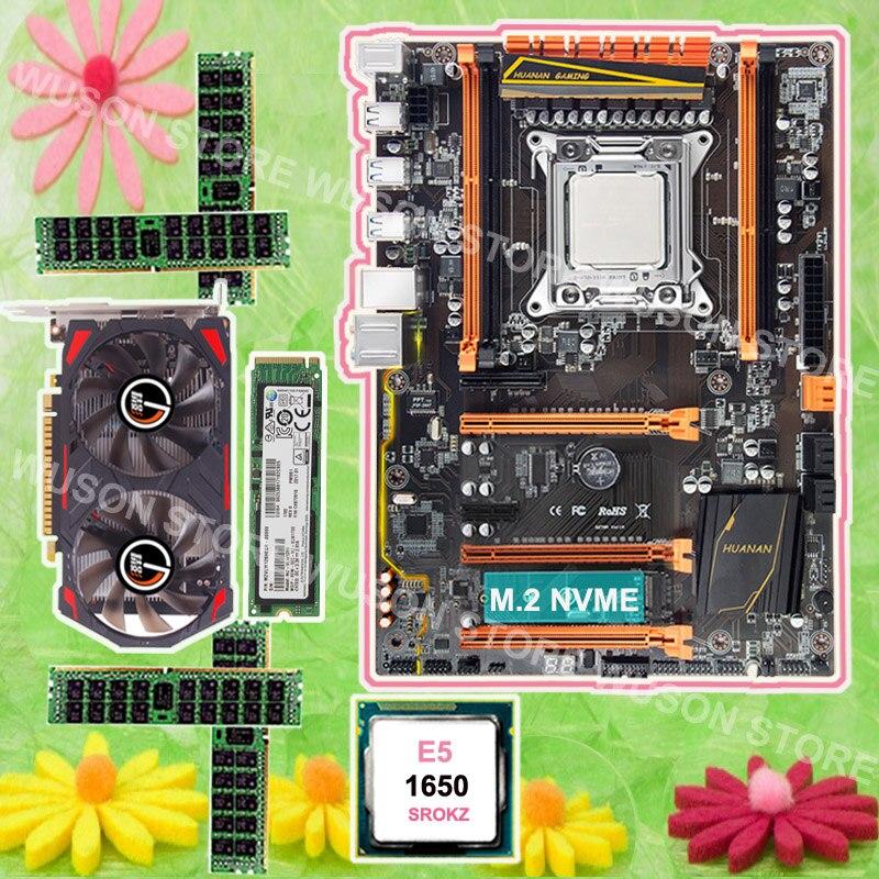 Mobo avec M.2 slot HUANAN ZHI X79 carte mère 128G NVME SSD Intel Xeon E5 1650 3.2 GHz carte vidéo GTX750TI 2G RAM 4*8G 1600 RECC