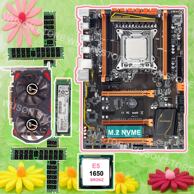 US $465 96 34% OFF|Mobo with M 2 slot HUANAN ZHI X79 motherboard 128G NVME  SSD Intel Xeon E5 1650 3 2GHz video card GTX750TI 2G RAM 4*8G 1600 RECC-in