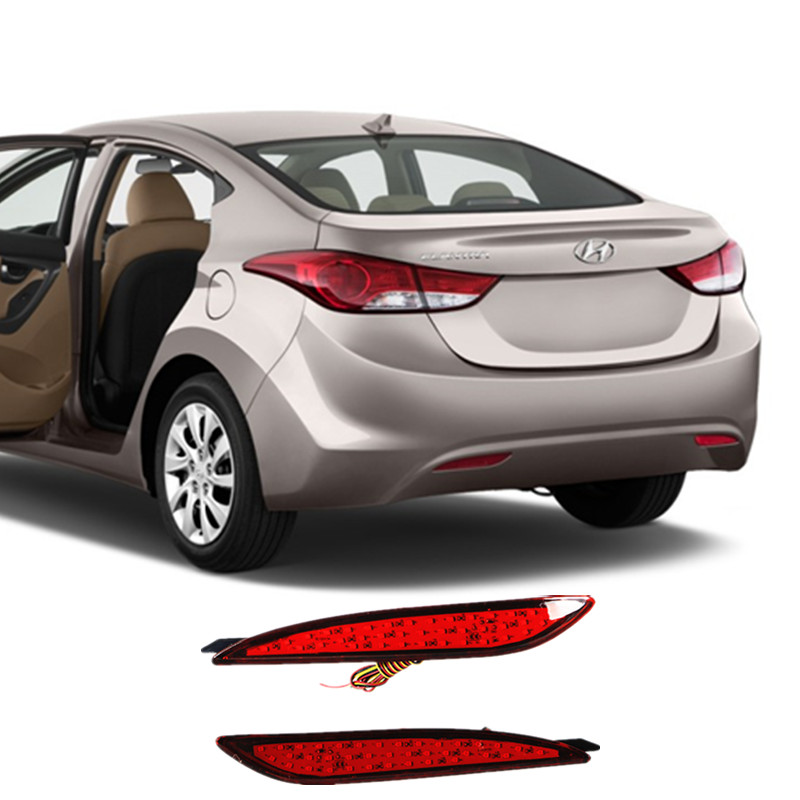 OKEEN Car Styling Rear Bumper Reflectors Parking Warning Braking Car LED Tail lights Lamp for Hyundai Elantra 2012 red lens sale for nissan qashqai dualis 2007 2013 car led rear bumper reflectors light brake tail parking night runing lights round