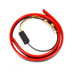 Image 4 - JURUS Unverisal 100CM Red Led Flowing Lights Car Additional Brake Light Flexible LED High Mount Stop Light With Turn Signal DRL