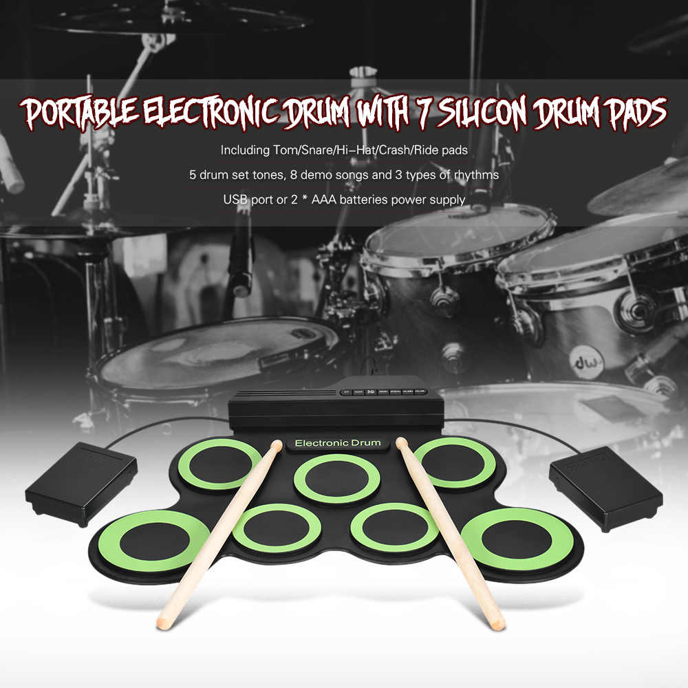 Elektronische Trommel Kompakte Tragbare Digitale Elektronische Roll Up Drum Kit 7 Silizium Trommel Pads USB Powered mit Drumsticks Fuß Pedale