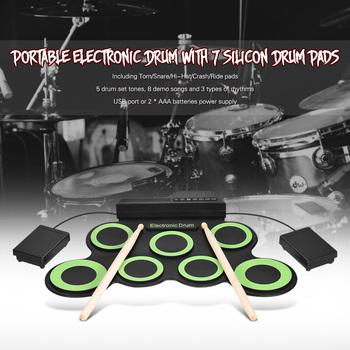 Perkusja elektroniczna kompaktowy przenośny cyfrowy elektroniczny zawijane perkusja 7 Silicon pady perkusyjne USB zasilany z podudzia pedały nożne tanie i dobre opinie G3002 7-drum kit Other 43 * 28 * 2 7cm 16 9 * 11 * 1 1in Wielofunkcyjny all-in-one typu 10 cal