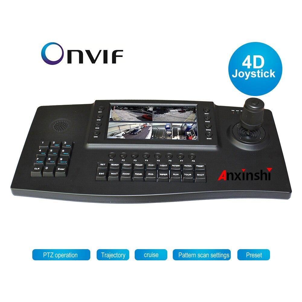 """4D Joysticker PTZ contrôleur de clavier réseau 4 CH écran vidéo HDMI 7 """"TFT LCD 1024*600 moniteur pour caméra IP ONVIF PTZ"""