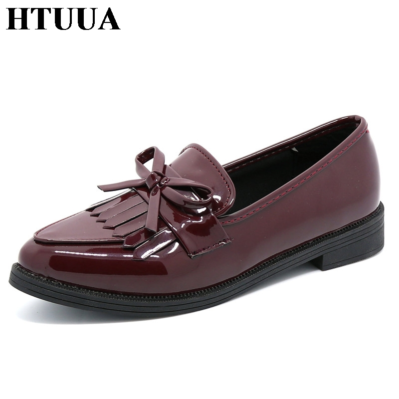 HTUUA Brand Shoes Woman Casual Tassel Bo