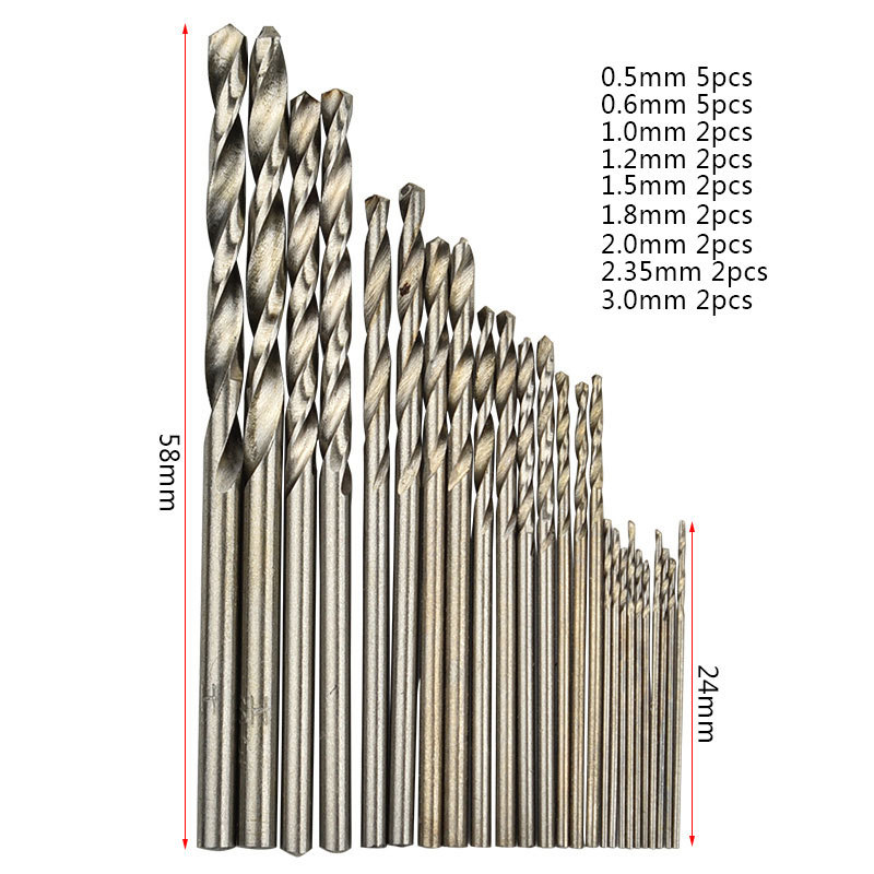 High Quality 25pcs Set Miniature Straight-shank Twist Drill Small Bit Pearl   0.5-3.0mm 6mm Tool  Hole