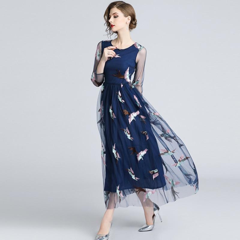 046d7dcfcd Luxury Bohemian Dress 2019 Autumn Runway Elegant Brand Designer Bird Blue  Embroidery Boho Mesh Dress Women