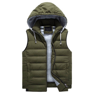 Image 3 - 4XL 8XL Plus Size 2019 New Vest Men Winter Warm Fashion Casual Work Vest Waistcoat Hooded Zipper Solid Sleeveless Jacket 3ZWJ14