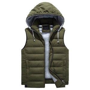 Image 3 - Chaleco grande 4XL 8XL para hombre, chaleco de trabajo informal a la moda, cálido, con capucha y cremallera, color sólido, sin mangas, 3ZWJ14, 2019