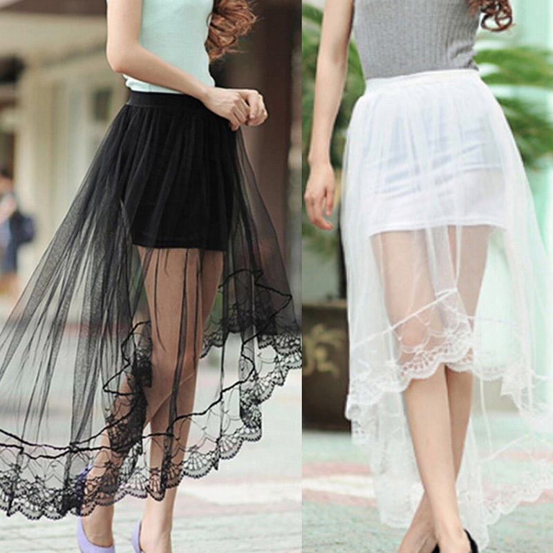 Vintage Women Stretch High Waist Net Skirt Pleated Swing Ladies Black White Long Skirt