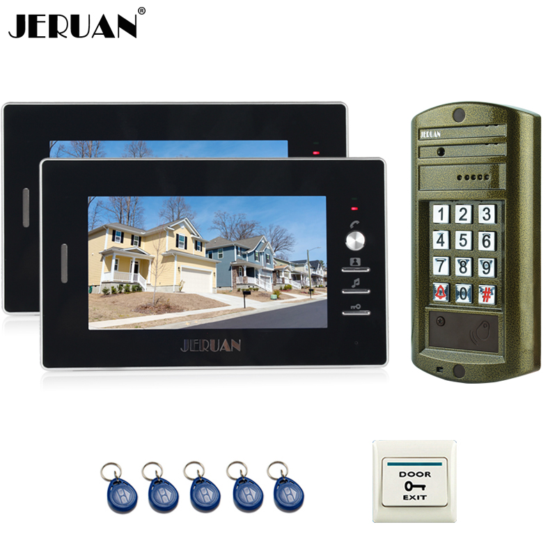 JERUAN NEW Metal Waterproof Access password keypad HD Mini Camera 7 inch Color LCD Video Door Phone Speaker Intercom System jeruan home 7 inch video door phone intercom system kit new metal waterproof access password keypad hd mini camera 2 monitor