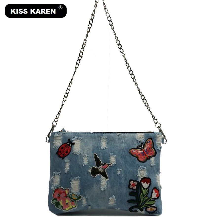 KISS KAREN Embroidery Fashion Girls Wristlets Rivet Denim Bag Women's Shoulder Bags Jeans Lady Satchels New Women Messenger Bags karen cvitkovich leading across new borders