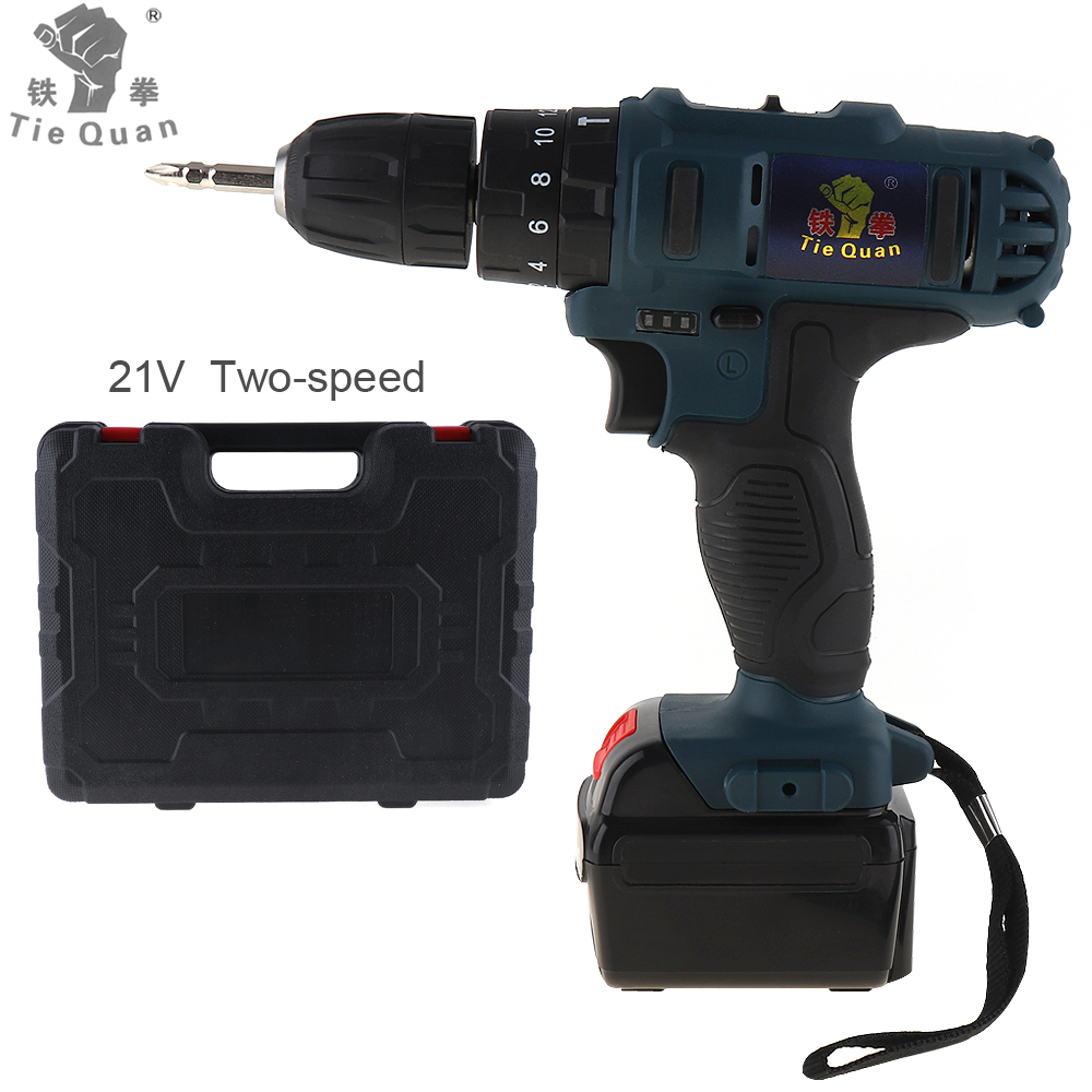 AC 110 - 220V Impact Cordless 21V Electric Drill / Screwdriver with 45 N*M Lithium Battery and Two-speed Adjustment Button makita 18v lithium battery series tool cordless impact screwdriver 3000ipm 2300rpm