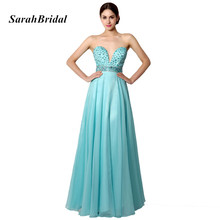 Hot Sale Elegant A Line Sweetheart Blue Evening Dresses Long With Beading Waist Evening Gowns vestidos de fiesta largo 2017