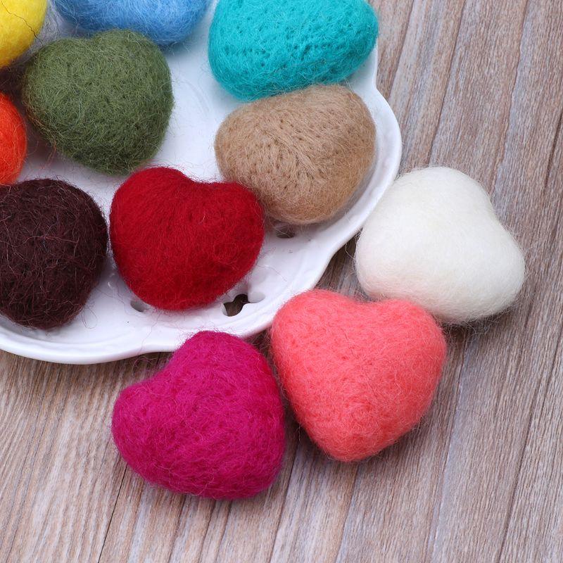 3pcs Photography Props Felt Ball Handmade Multi-functional Baby Heart Shape Woolen Diy Decoration Welding Equipment
