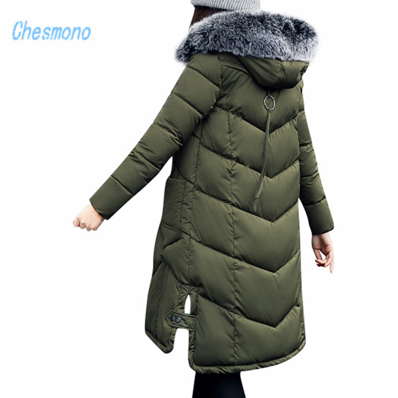 2017 New women winter long jacket faux Fox Fur Collar Hooded Woman Parka Womens cotton padded Coats casual Thick Jacket state by state mechanics lien