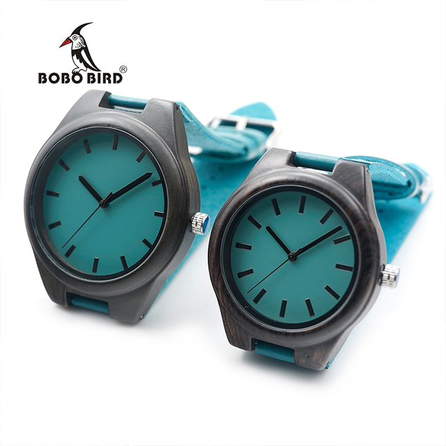 BOBO BIRD Lovers's Ebony Wooden Watches Leather Band Quartz Saat Erkek Brand Rel