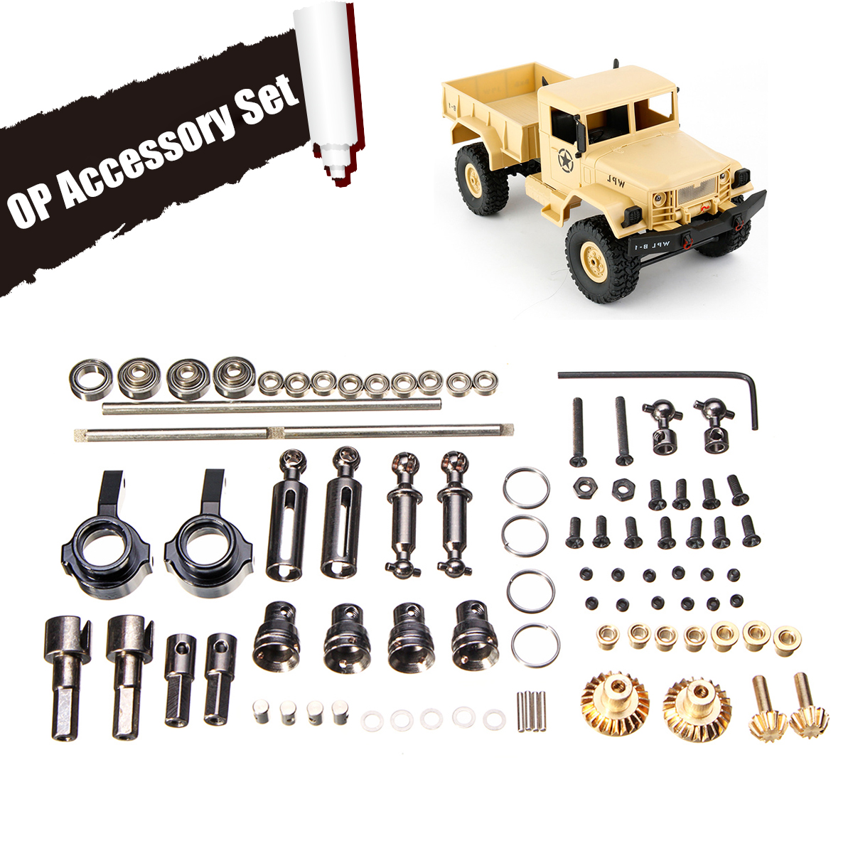 Upgrade Metal OP Accessory Set For WPL RC Car B1 B14 B24 C14 C24 1/16 4WD Military Truck RC Cars Spare Part Set Perfect-FitUpgrade Metal OP Accessory Set For WPL RC Car B1 B14 B24 C14 C24 1/16 4WD Military Truck RC Cars Spare Part Set Perfect-Fit