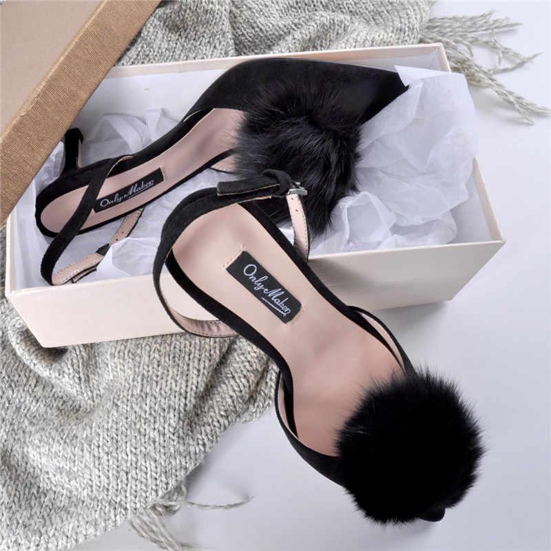 1639cd91069 Famous Design Pompom Fur Balls Stiletto High Heels Dress Shoes Woman ...