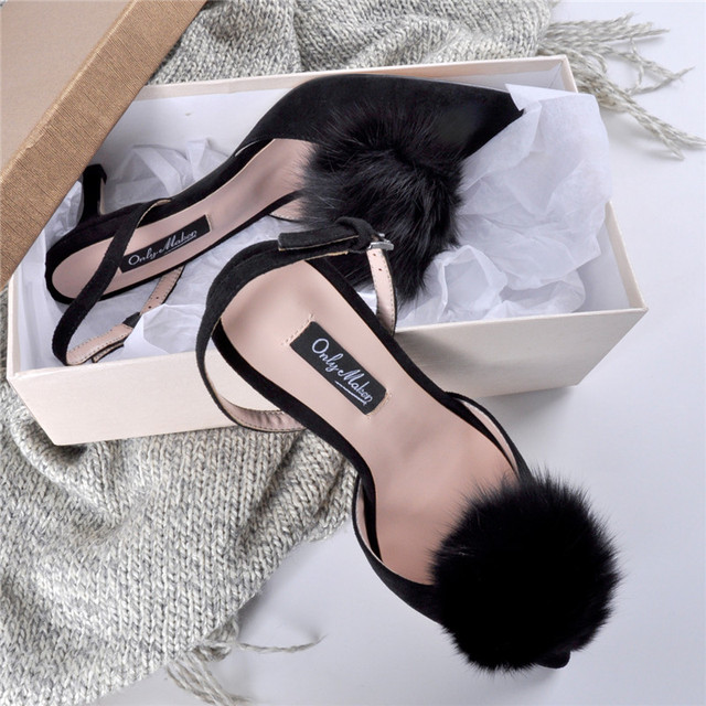 8f7bc669e0e9 onlymaker high heels 6cm Women s Pom Pom Fluffy Heels Slingback Pointed Toe  Kitten Heels Pumps Ankle Strap Buckles Low Heel Dres