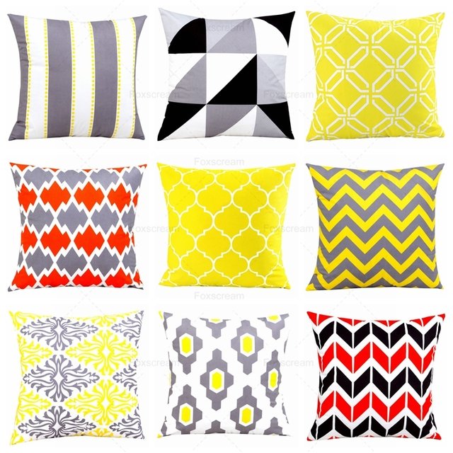 Nordic Decorative Throw Pillows Cases Yellow Geometric Cushion Cover