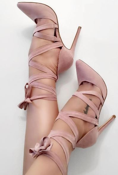 Classy Pink Suede Cross Strap Thin Heels Sexy Butterfly-knot Pointy Cut-out Stiletto Heel Pumps Fashion Ankle Lace Up Dress Shoe